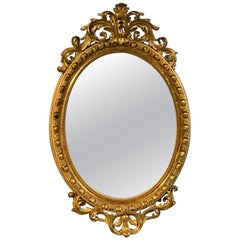 Large 19th Century French Oval Gilt Mirror with Original Mirror Plate
