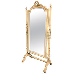 Large 19th Century French Painted Louis XVI Style Cheval Dressing Mirror