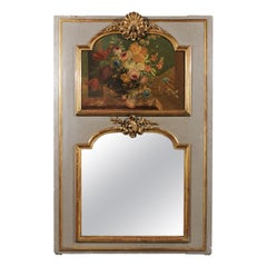 Large 19th Century French Painted Wood Floral Trumeau Mirror with Gilt Motifs