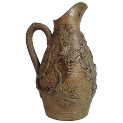 Large 19th Century French Pottery Tobacco Vine Pitcher with Grapes