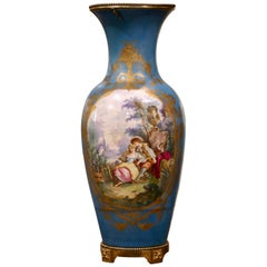 Large 19th Century French Sèvres Hand Painted Bronze Mounted Porcelain Vase