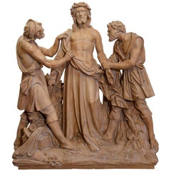 Large 19th Century French Terracotta Sculpture Composition before Crucifixion