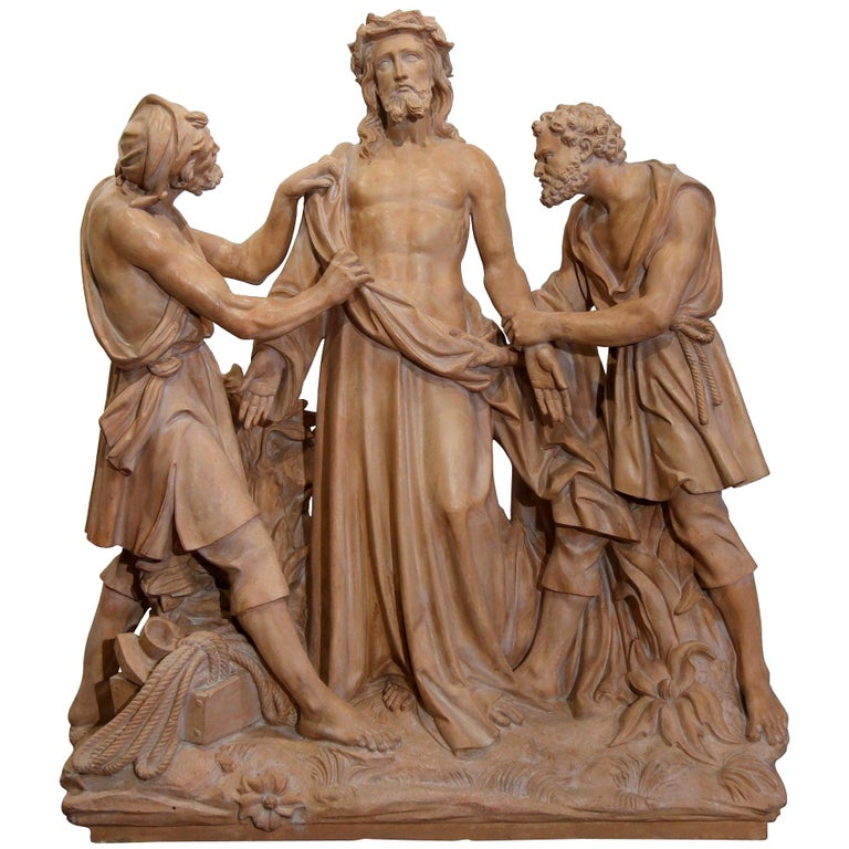 Large 19th Century French Terracotta Sculpture Composition before Crucifixion For Sale