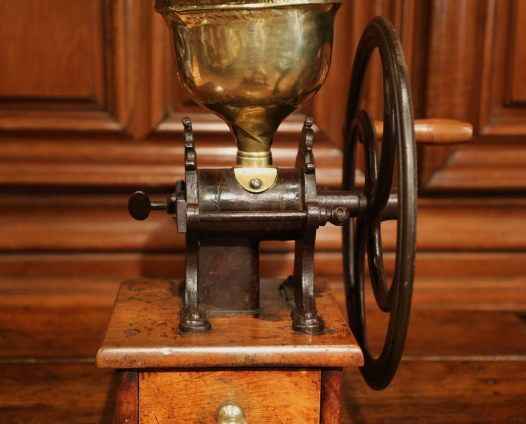 Hand-Crafted Large 19th Century French Walnut Iron and Brass Coffee Grinder For Sale