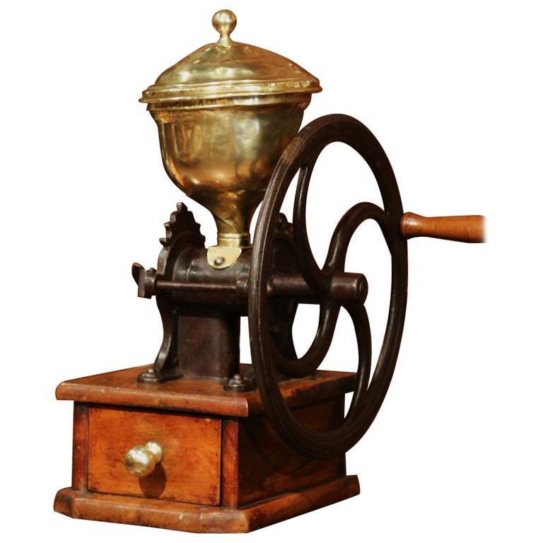Large 19th Century French Walnut Iron and Brass Coffee Grinder For Sale