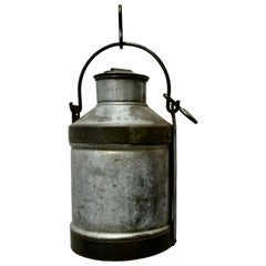Large 19th Century Galvanised Metal Milk Churn with Iron Strapping