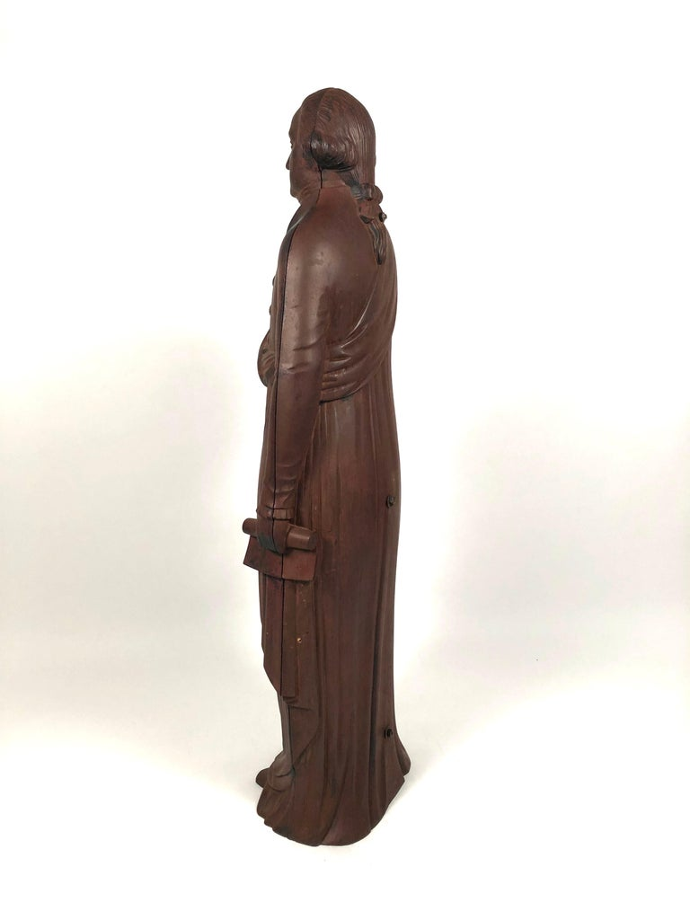 Painted George Washington Cast Iron Stove Figure, circa 1840s For Sale