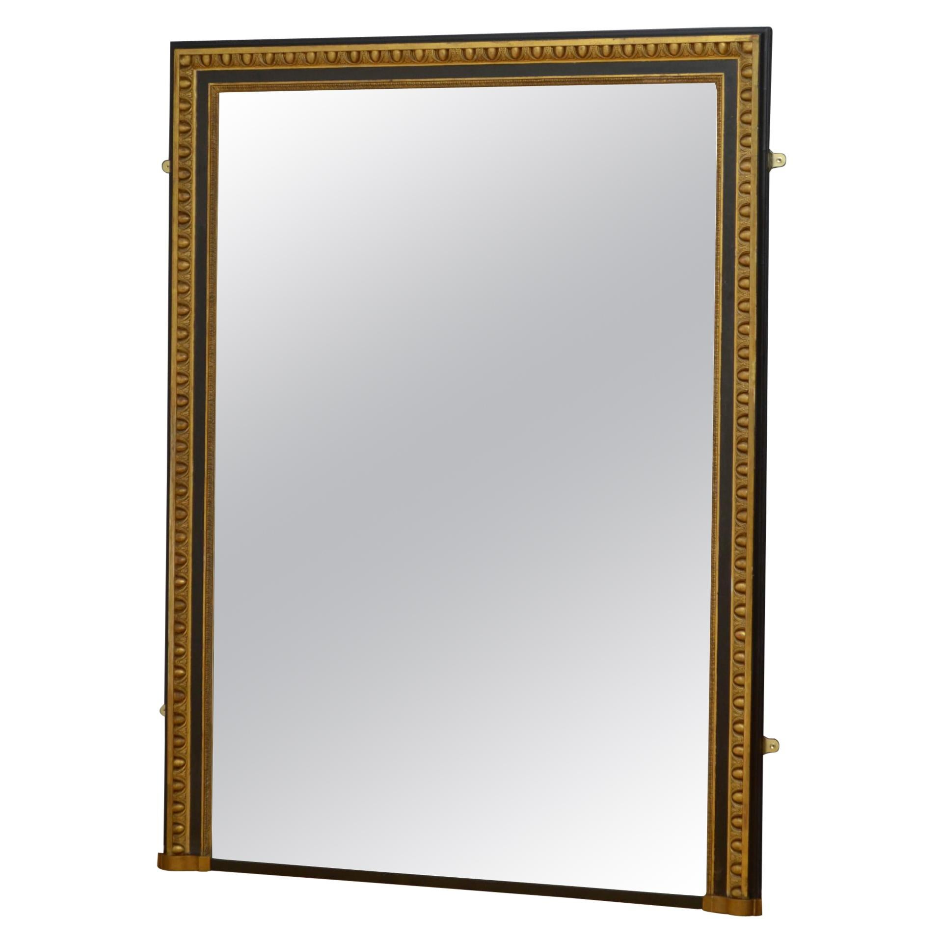 Large 19th Century Gilded and Ebonised Mirror