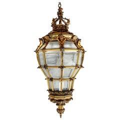 Large 19th Century gilded bronze Lantern