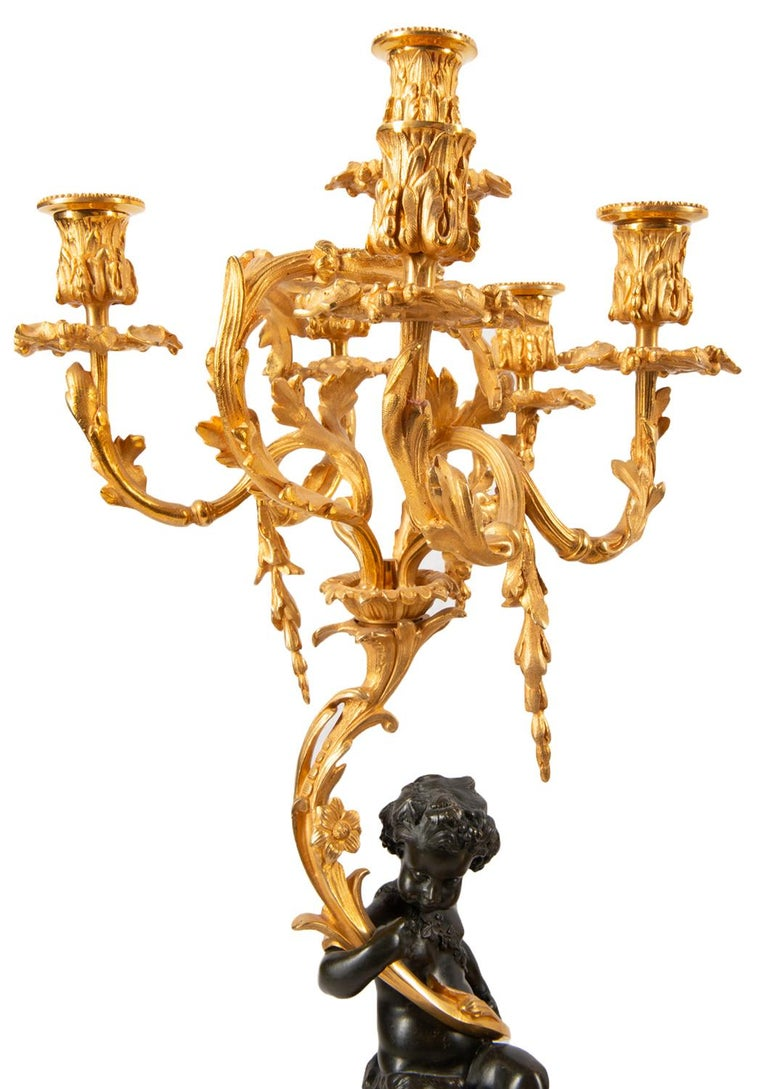 Large 19th Century Gilded Ormolu and Bronze Clock Set, by Deniere, Paris For Sale 7