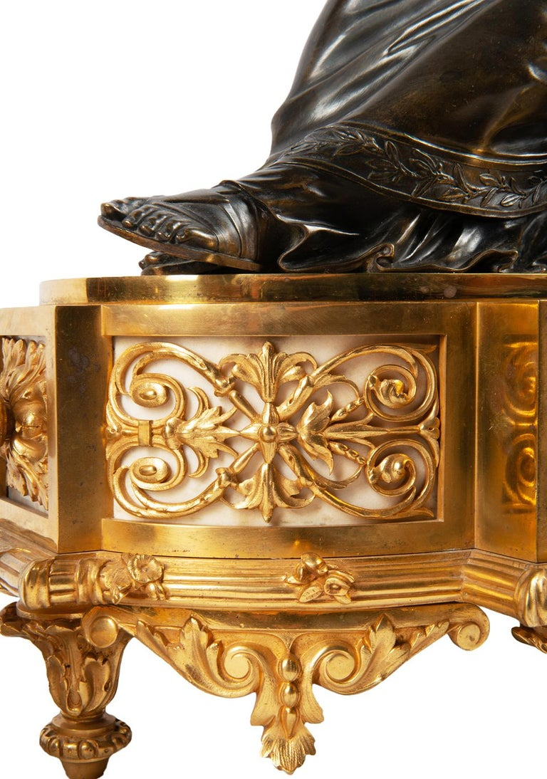 Large 19th Century Gilded Ormolu and Bronze Clock Set, by Deniere, Paris For Sale 10