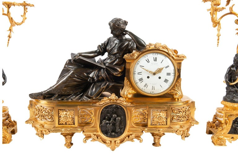 Louis XIV Large 19th Century Gilded Ormolu and Bronze Clock Set, by Deniere, Paris For Sale