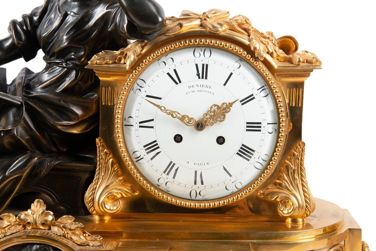 Gilt Large 19th Century Gilded Ormolu and Bronze Clock Set, by Deniere, Paris For Sale