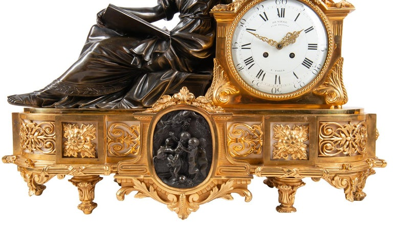 Large 19th Century Gilded Ormolu and Bronze Clock Set, by Deniere, Paris In Good Condition For Sale In Brighton, Sussex