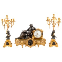 Large 19th Century Gilded Ormolu and Bronze Clock Set, by Deniere, Paris