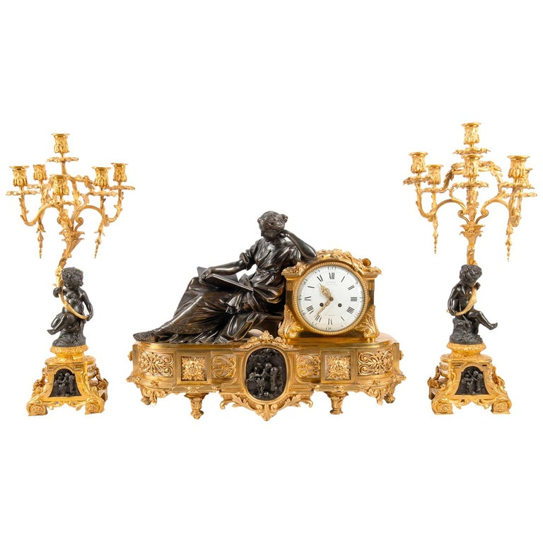 Large 19th Century Gilded Ormolu and Bronze Clock Set, by Deniere, Paris For Sale