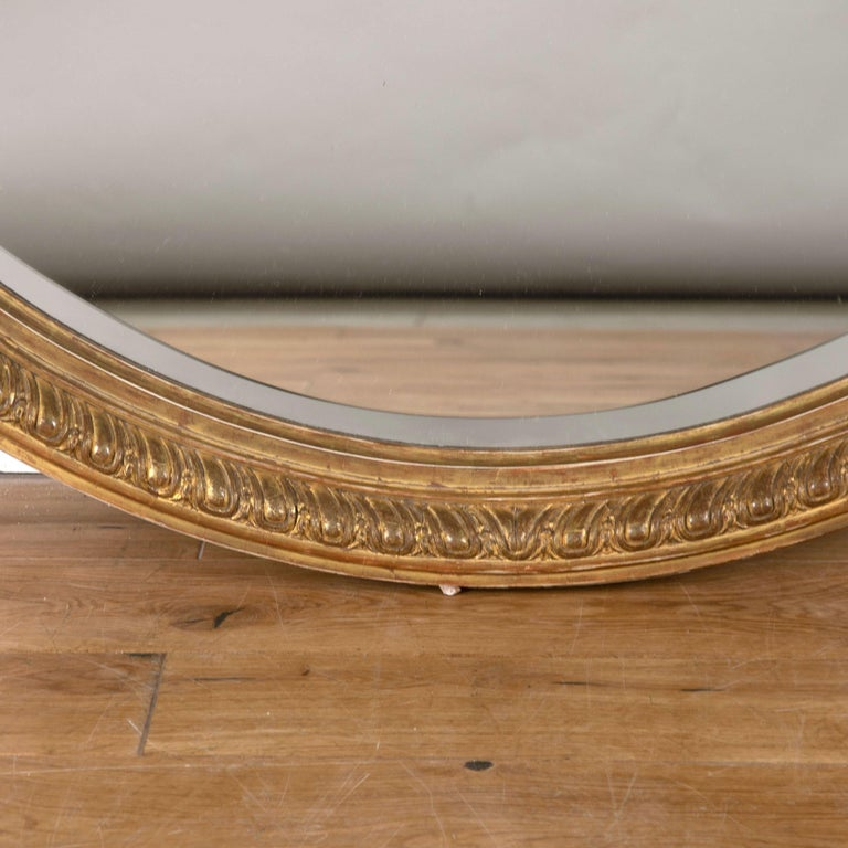 Large 19th Century Gilded Oval Mirror In Good Condition For Sale In Gloucestershire, GB