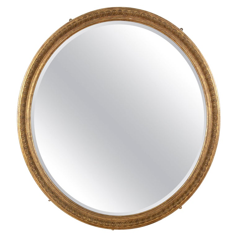 Large 19th Century Gilded Oval Mirror For Sale