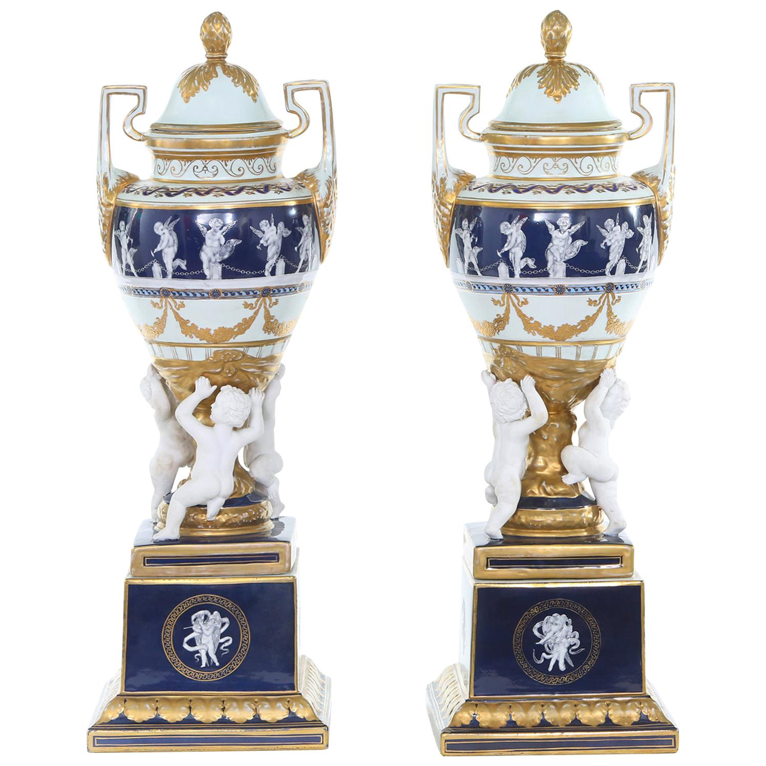 Large 19th Century Gilt Gold / Minton Porcelain Covered Urns