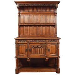 Large 19th Century Gothic Revival Oak Sideboard