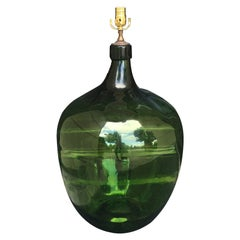 Large 19th Century Green Glass Jeroboam as Lamp