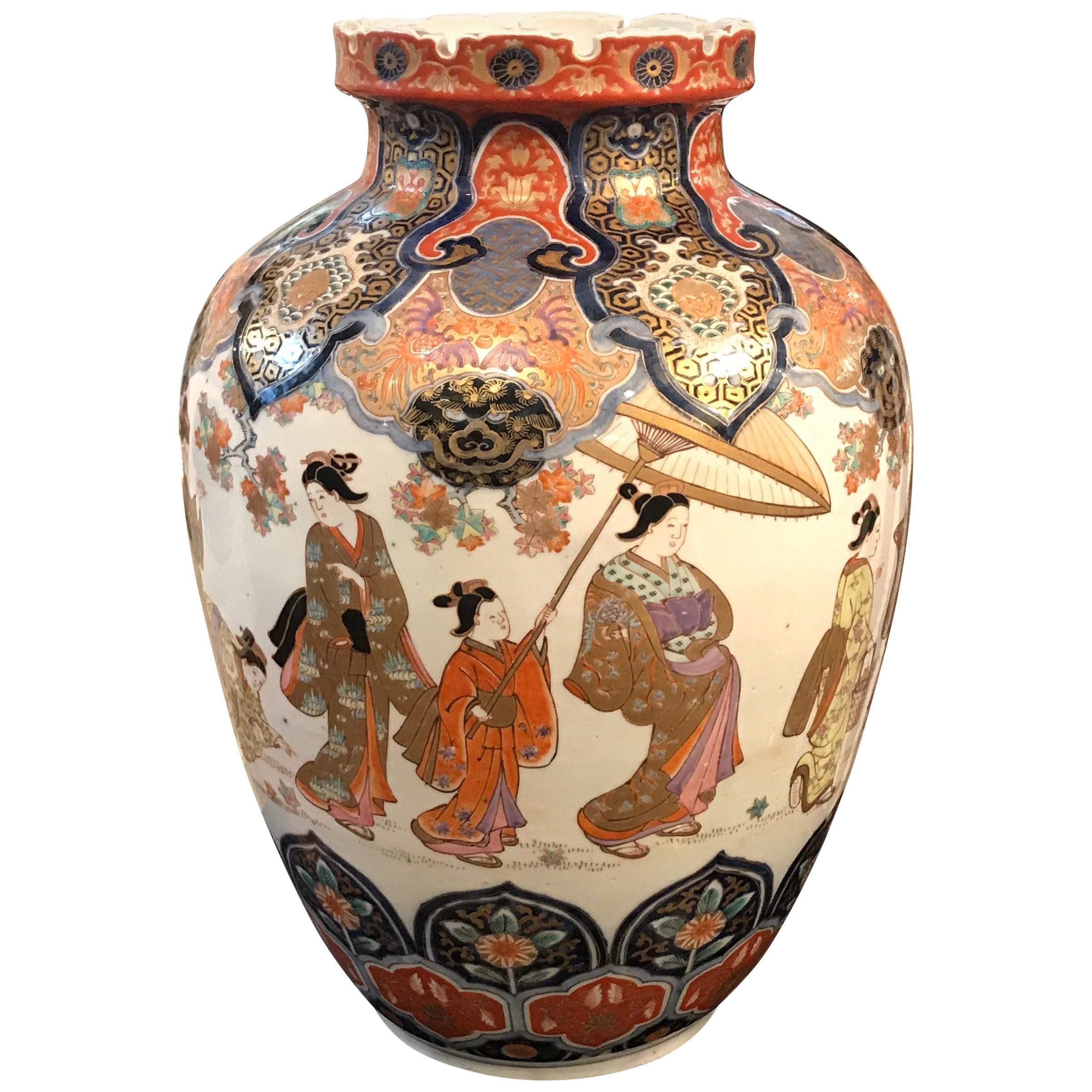 Large 19th Century Hand Painted Imari Porcelain Vase Meiji Period