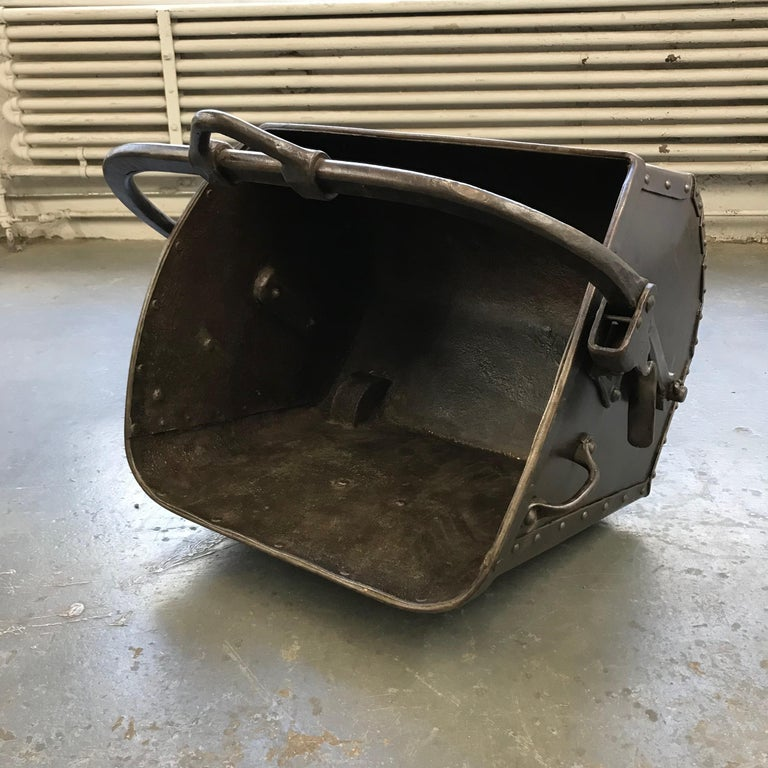 American Large 19th Century Industrial Steel Coal Drag Shovel Bucket For Sale