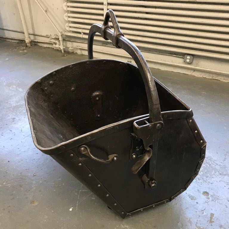 Large 19th Century Industrial Steel Coal Drag Shovel Bucket In Good Condition For Sale In Brooklyn, NY