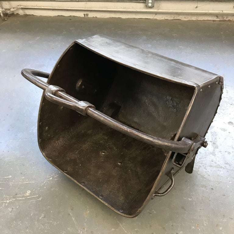 Large 19th Century Industrial Steel Coal Drag Shovel Bucket For Sale 1