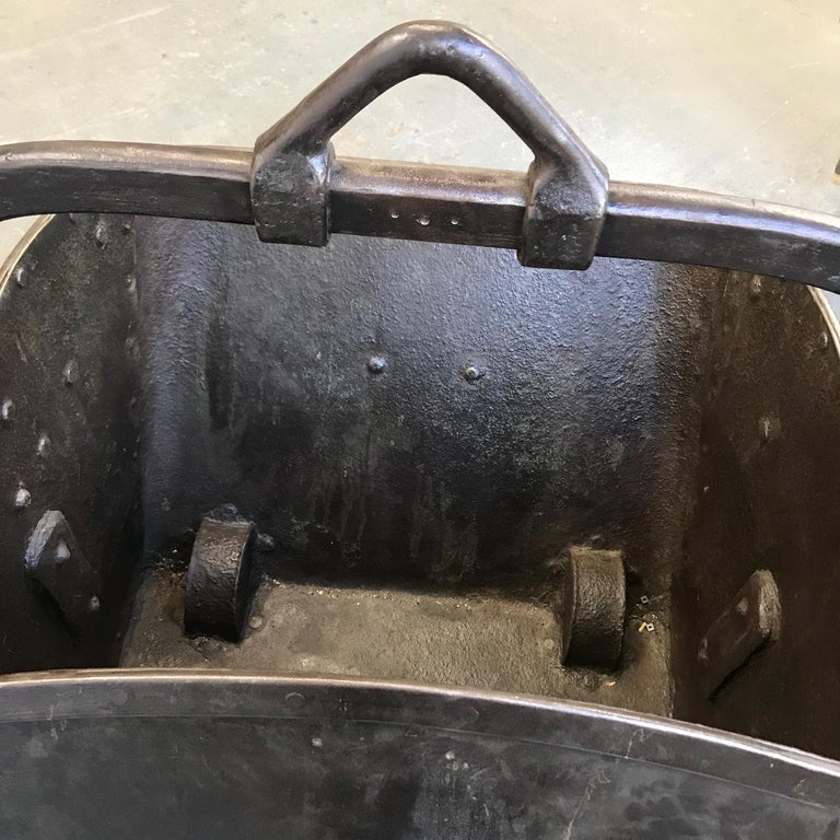 Large 19th Century Industrial Steel Coal Drag Shovel Bucket For Sale 4