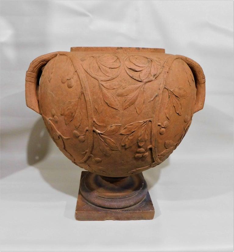 Large 19th Century Italian Art Nouveau Terracotta Urn For Sale 1