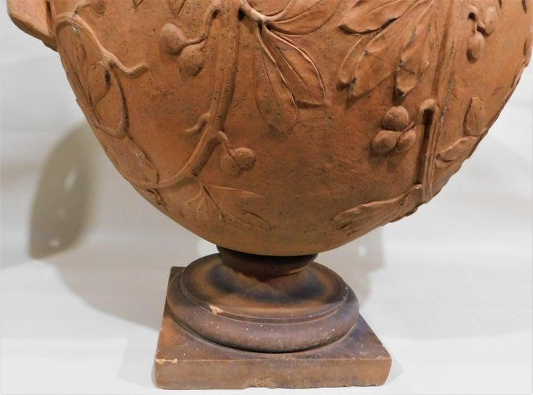 Large 19th Century Italian Art Nouveau Terracotta Urn For Sale 2