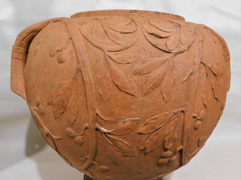 Large 19th Century Italian Art Nouveau Terracotta Urn For Sale 3