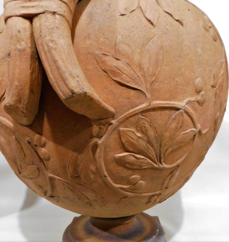 Large 19th Century Italian Art Nouveau Terracotta Urn For Sale 6