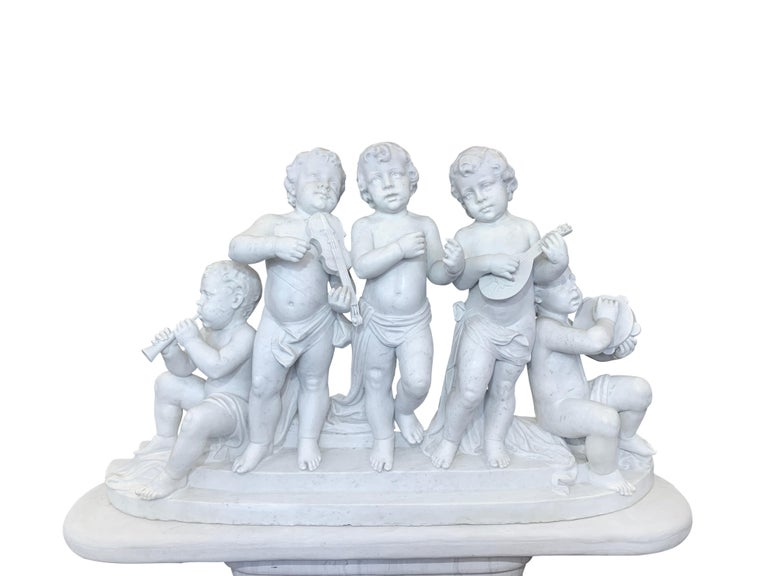 Large 19th Century Italian Carved Marble Group Depicting Musicians  on stand In Excellent Condition For Sale In Los Angeles, CA