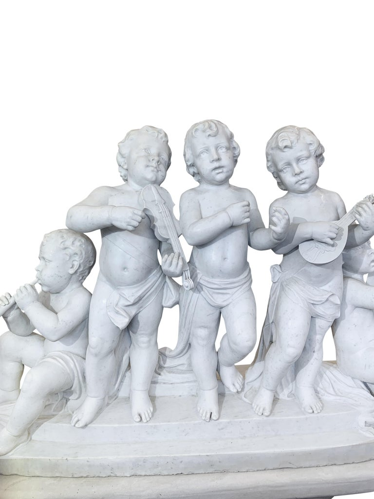 Large 19th Century Italian Carved Marble Group Depicting Musicians  on stand For Sale 1