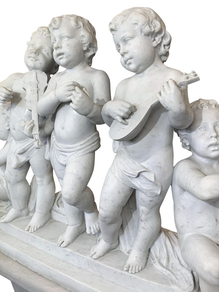 Large 19th Century Italian Carved Marble Group Depicting Musicians  on stand For Sale 6