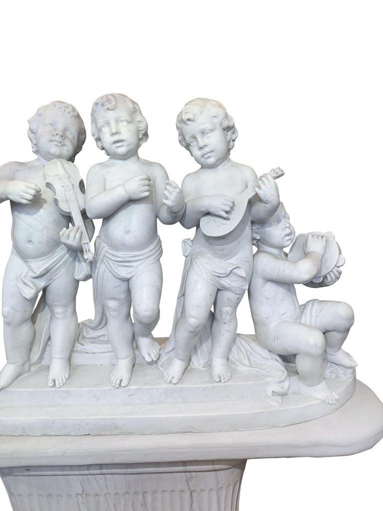 Large 19th Century Italian Carved Marble Group Depicting Musicians  on stand For Sale 2