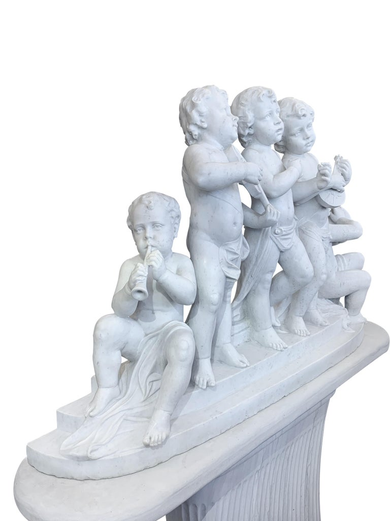 Large 19th Century Italian Carved Marble Group Depicting Musicians  on stand For Sale 7