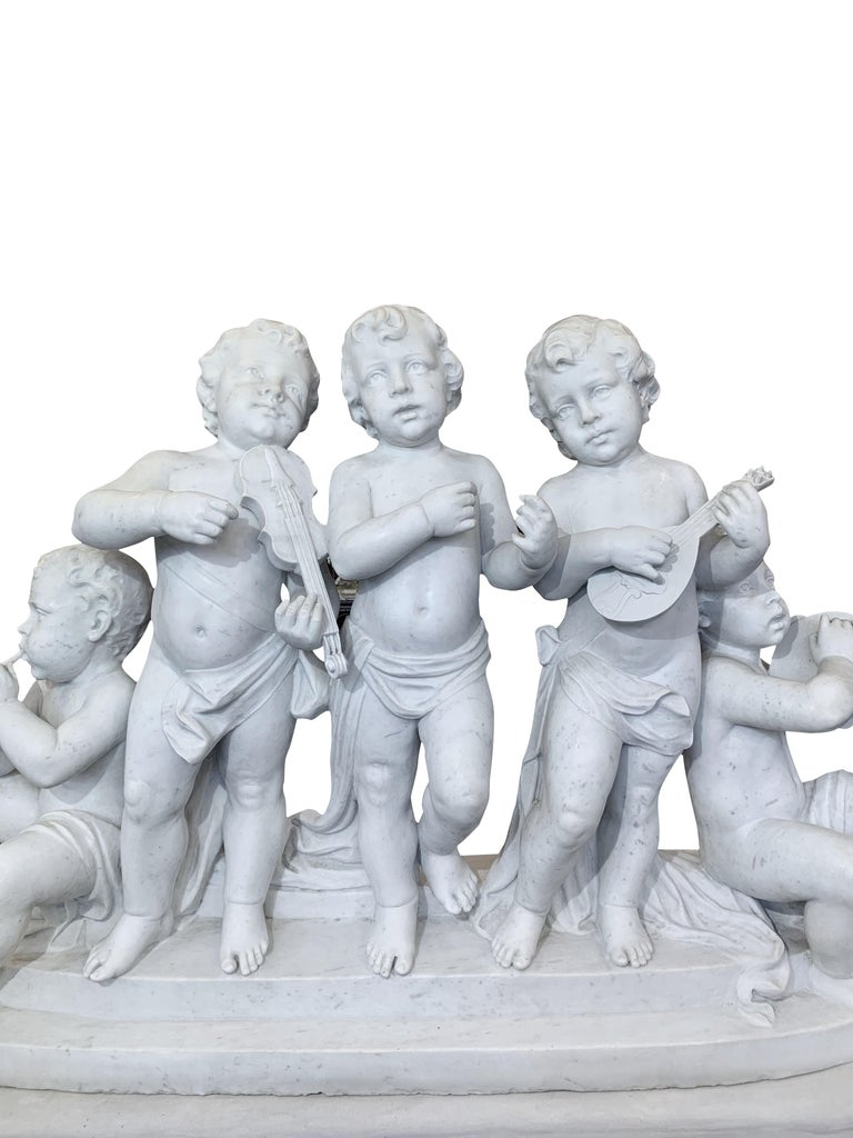 Large 19th Century Italian Carved Marble Group Depicting Musicians  on stand For Sale 3
