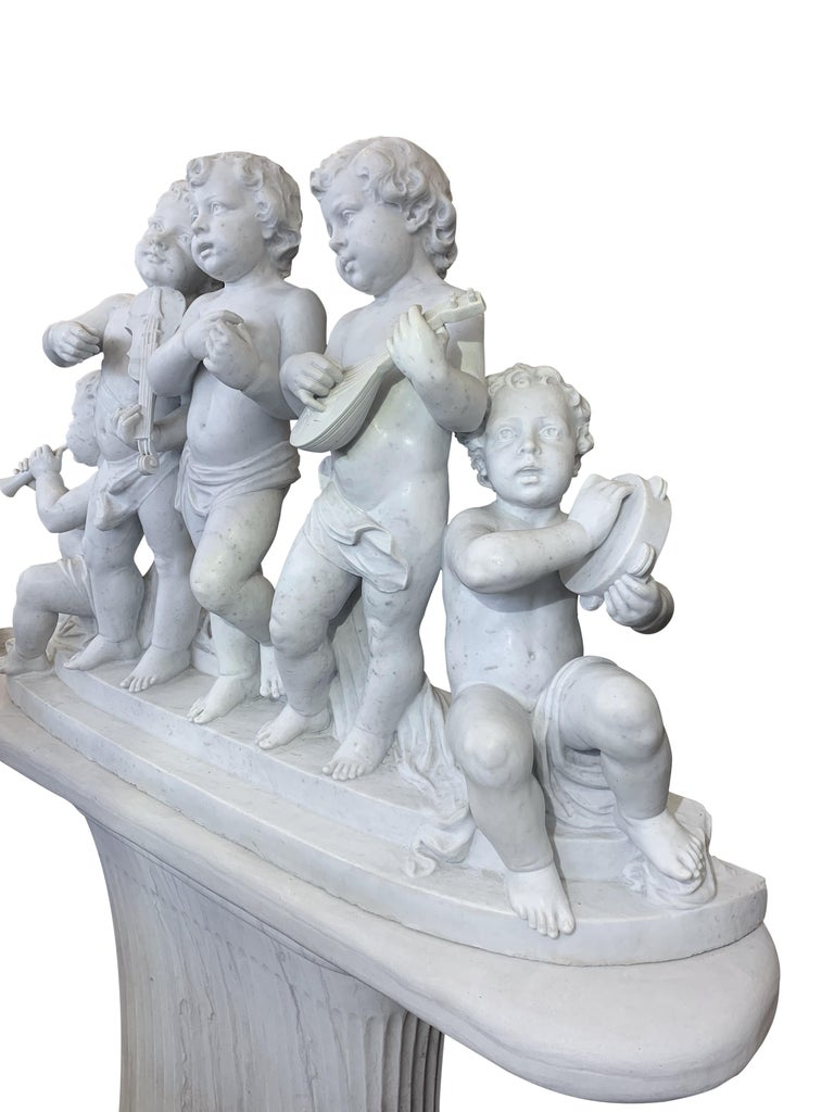 Large 19th Century Italian Carved Marble Group Depicting Musicians  on stand For Sale 4