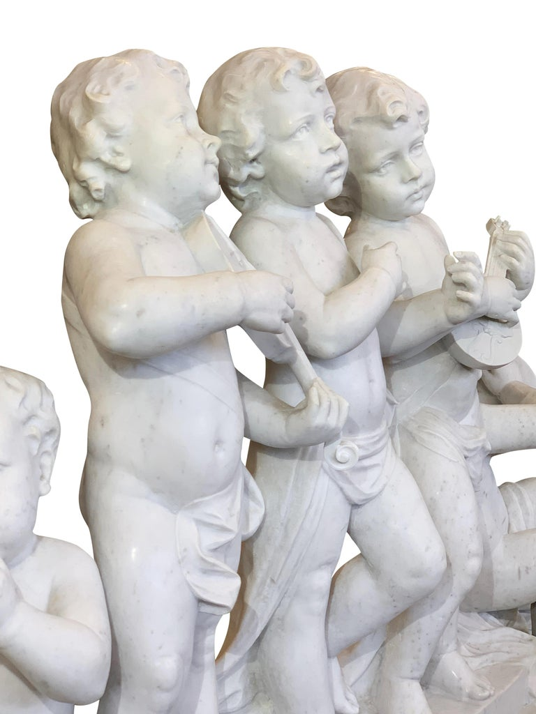 Large 19th Century Italian Carved Marble Group Depicting Musicians  on stand For Sale 9