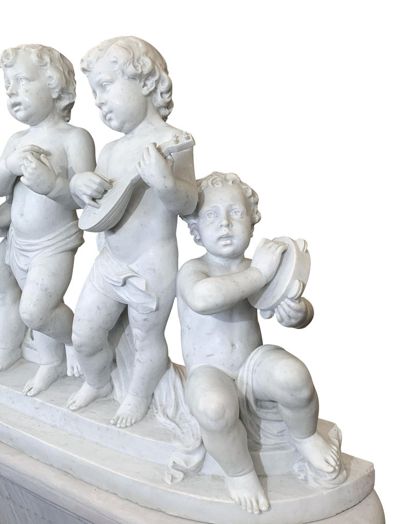 Large 19th Century Italian Carved Marble Group Depicting Musicians  on stand For Sale 5
