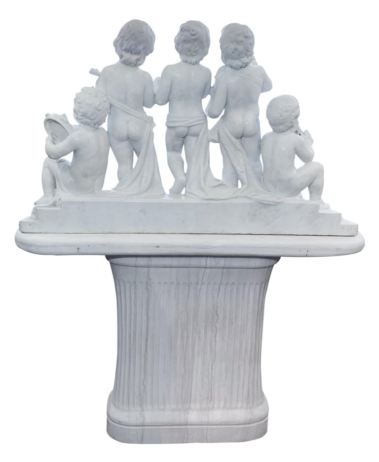 Large 19th Century Italian Carved Marble Group Depicting Musicians  on stand For Sale 11