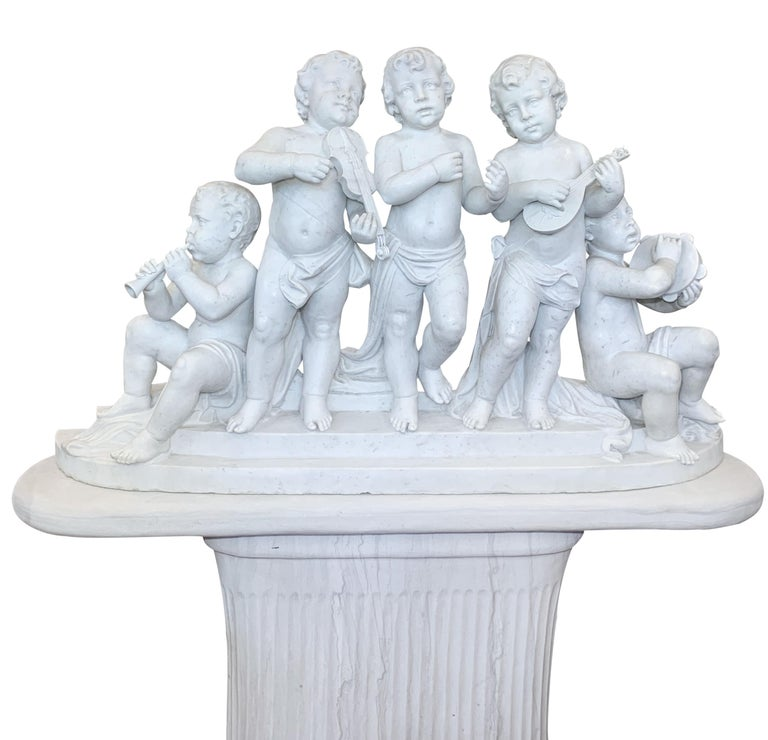 Classical Roman Large 19th Century Italian Carved Marble Group Depicting Musicians  on stand For Sale