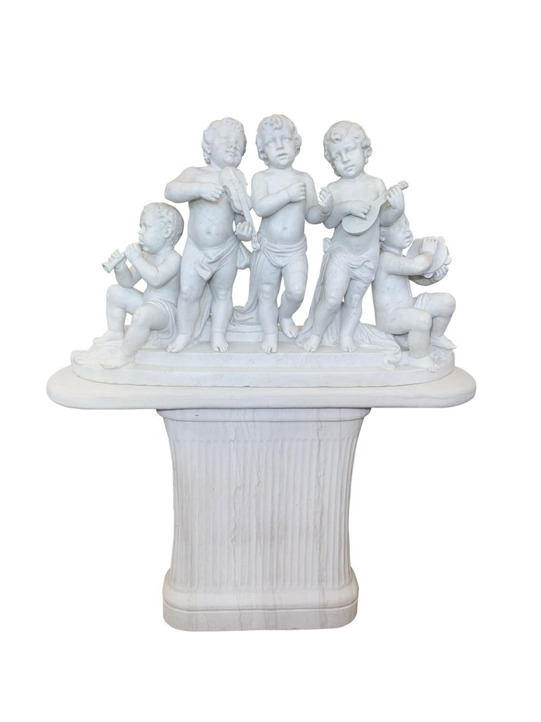 Hand-Carved Large 19th Century Italian Carved Marble Group Depicting Musicians  on stand For Sale