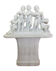 Large 19th Century Italian Carved Marble Group Depicting Musicians  on stand