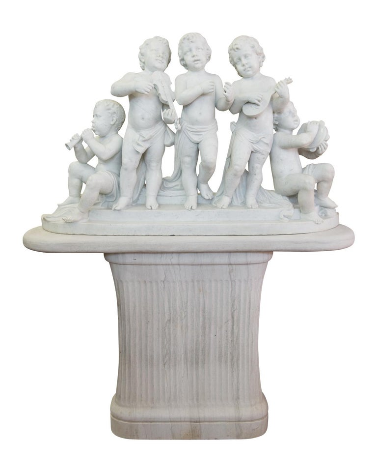 Large 19th Century Italian Carved Marble Group Depicting Musicians  on stand For Sale