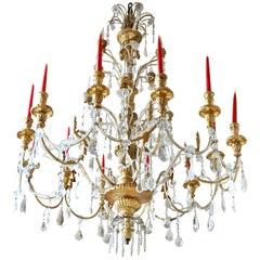 Large 19th Century Italian Neoclassical Chandelier Gilt