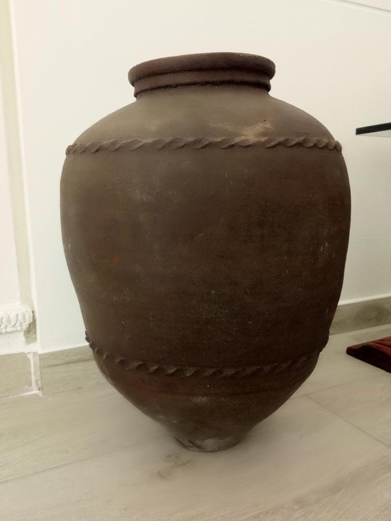Rustic Large 19th Century Italian Terracotta Jar For Sale